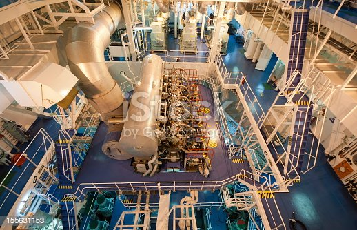 Close view of the crude oil tanker's engine room.