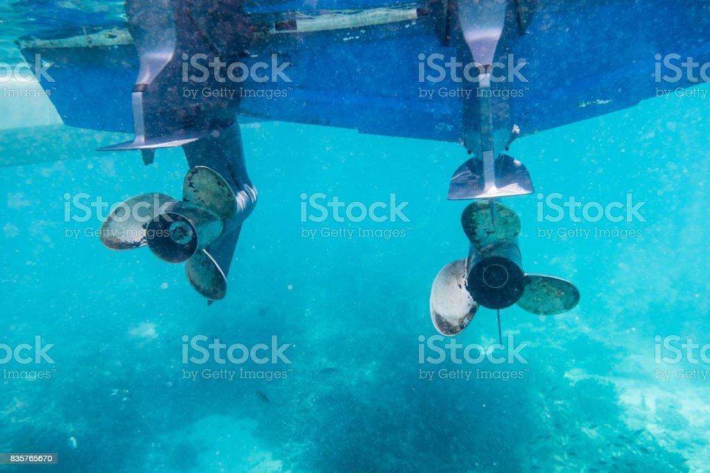 Engine speedboat propeller parked stock photo