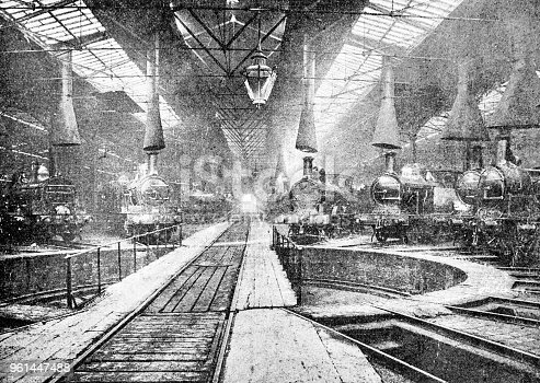 Engine stable and turn-table. Heavy industry inside a train yard in York and Newcastle from the pre-1900 book