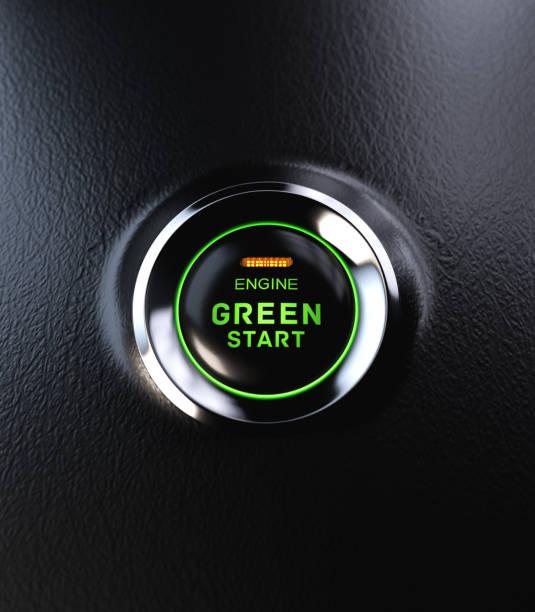 Engine Start Button Go Green Concept stock photo