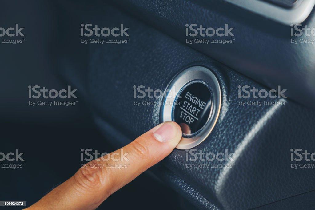 Engine Start Button on car stock photo