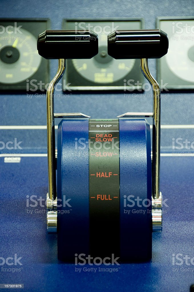 engine throttles in wheelhouse stock photo