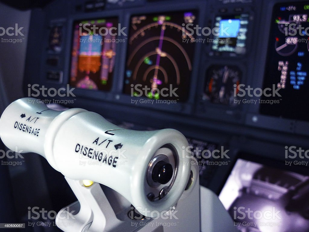 Engine Thrust Levers of Boeing 737-800 stock photo
