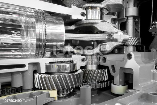 istock Engine transmission gears and piston detail 1017903490