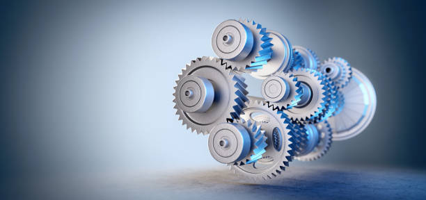 Engine with gears and cogs mechanism stock photo