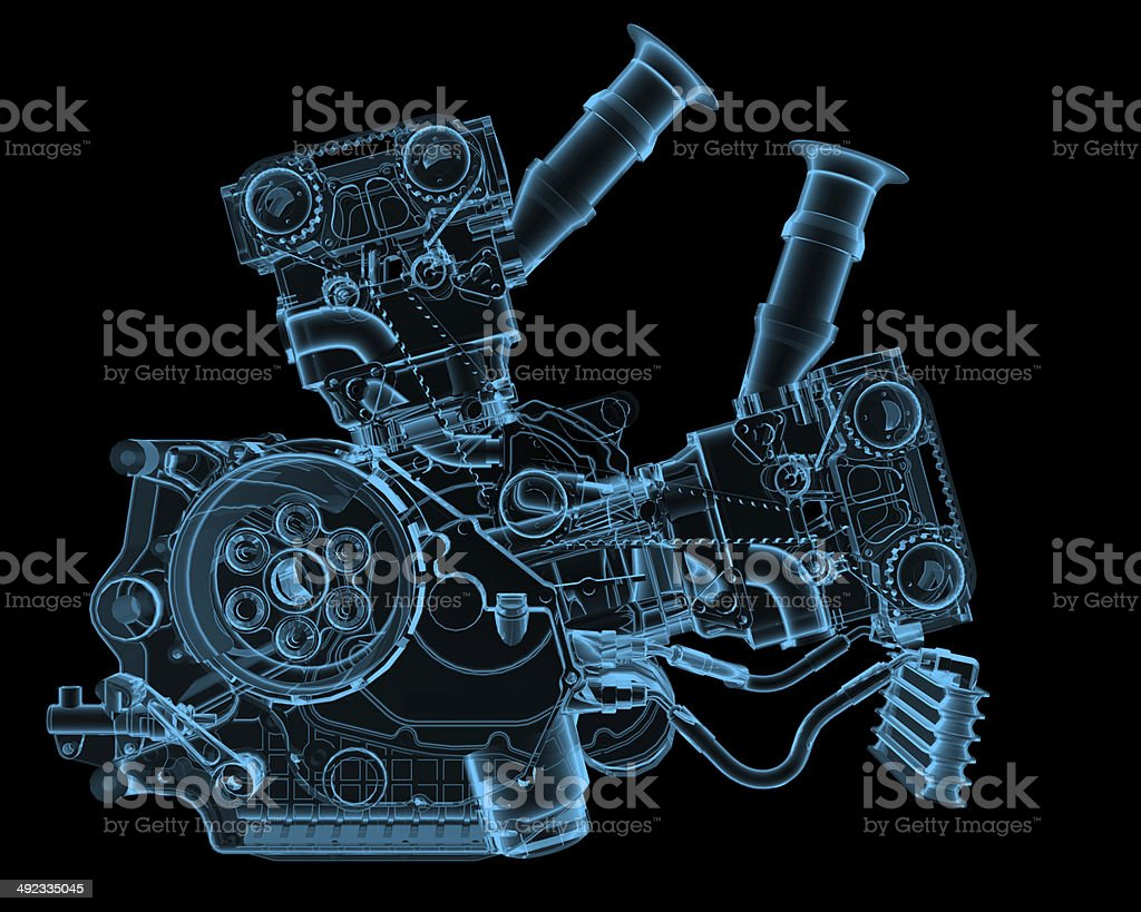 Engine x-ray blue transparent isolated on black stock photo