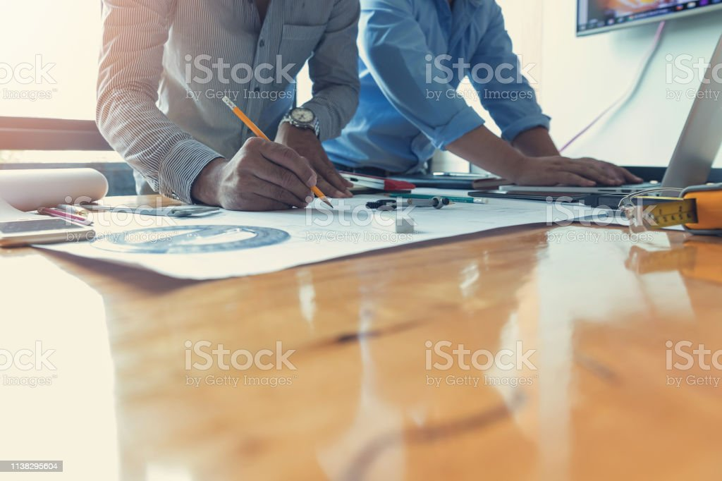 Engineer and Architect concept, Engineer Architects office team...