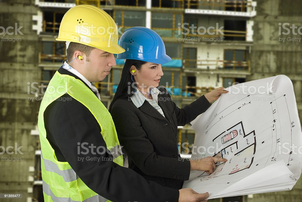 Engineer and client on site royalty-free stock photo