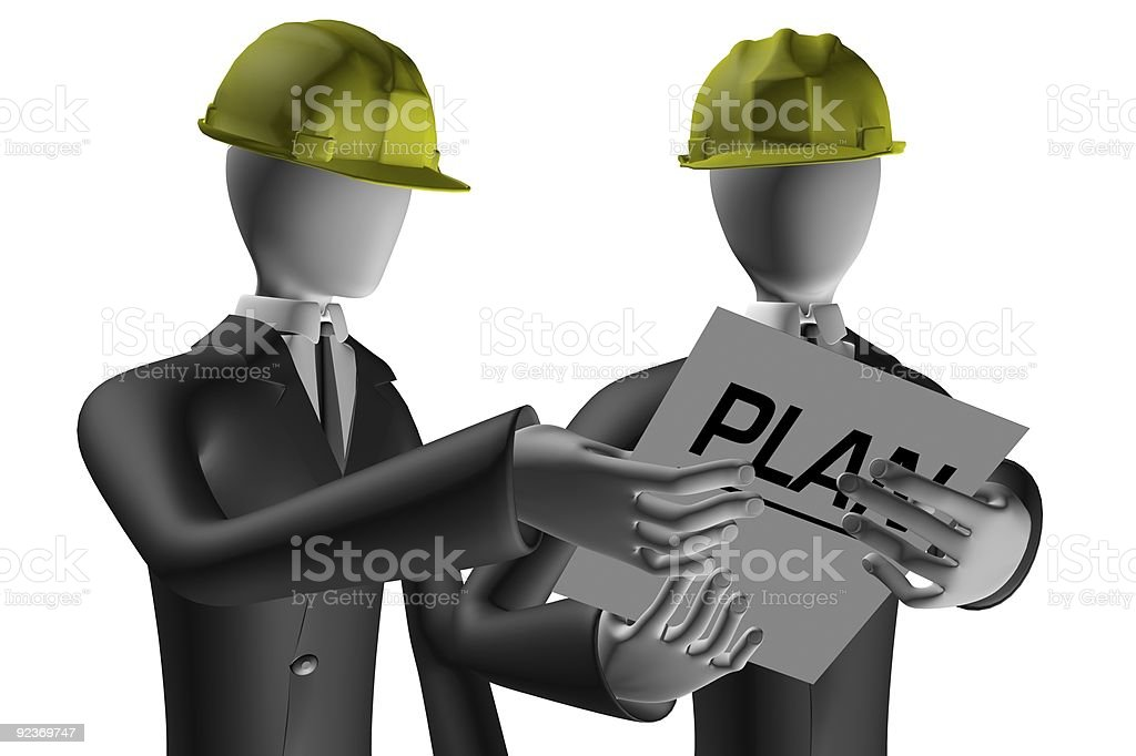 Engineer and manager of construction site talking royalty-free stock photo
