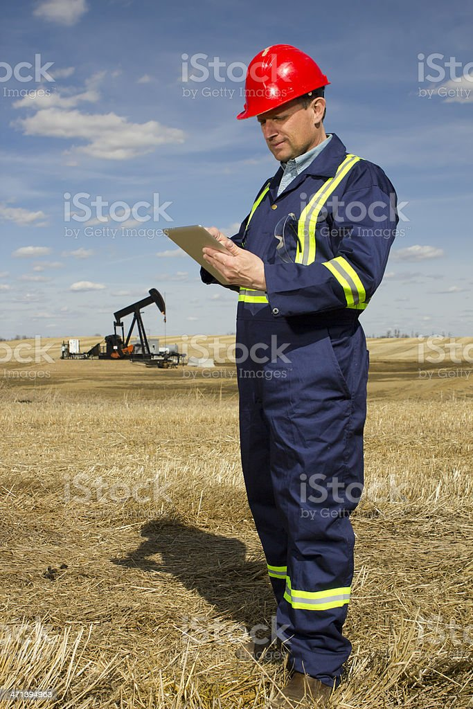 Engineer and Tablet PC stock photo