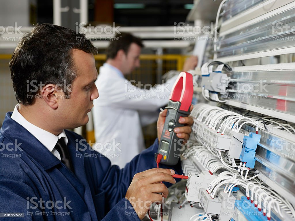 Engineer and technician stock photo