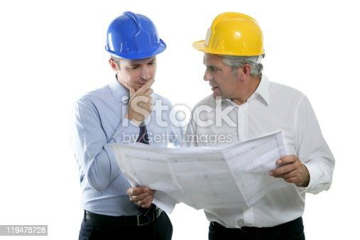 istock engineer architect two expertise team plan hardhat 119475728