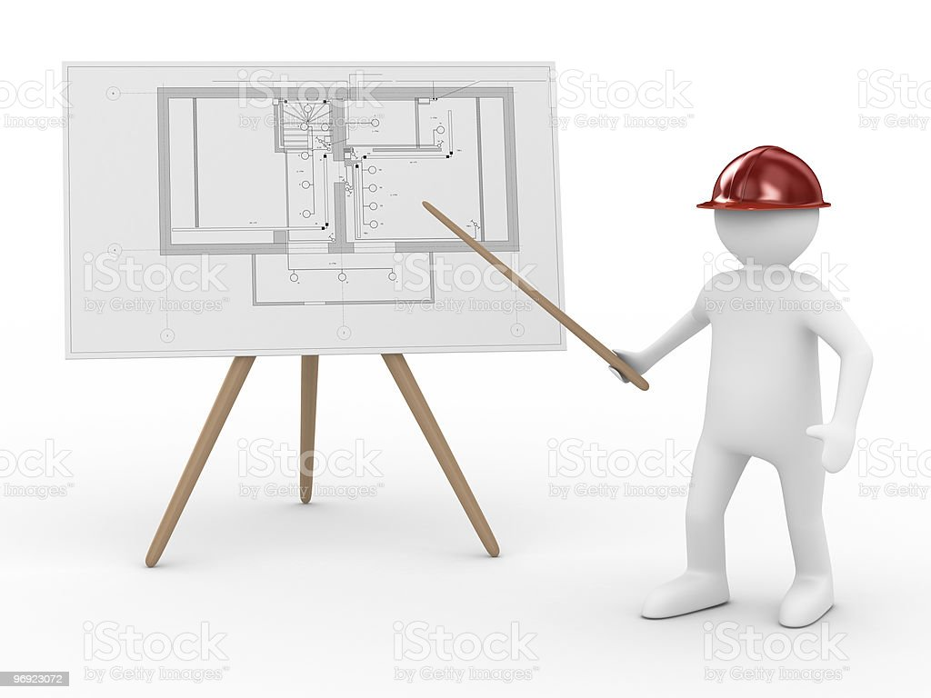 engineer at board with plan. Isolated 3D image royalty-free stock photo