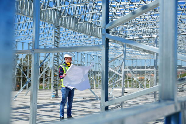 Engineer At Construction Site Engineer At Construction Site built structure stock pictures, royalty-free photos & images
