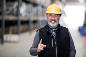 Portrait of senior engineer at factory