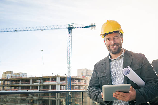 Engineer at the construction site stock photo