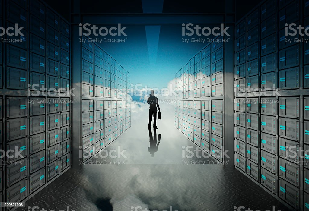 engineer business man in 3d network server room stock photo