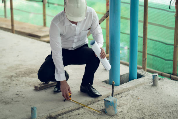 engineer checking defect in construction site measure offset distance of sleeve of soil pvc pipe - defects stock pictures, royalty-free photos & images