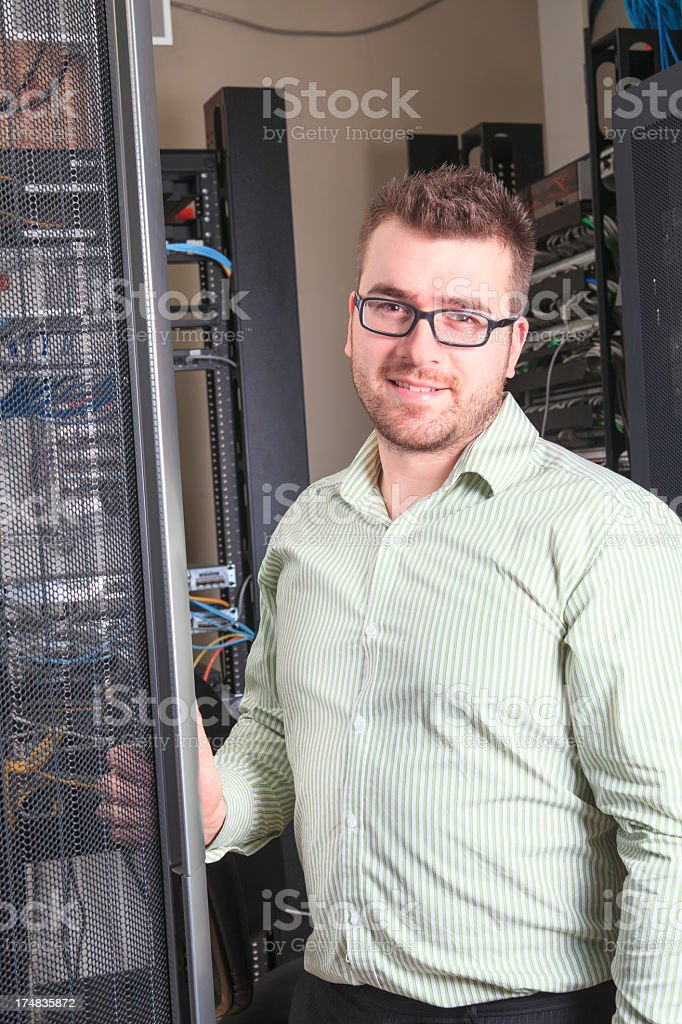 IT Engineer - Cheerful Server Vertical royalty-free stock photo