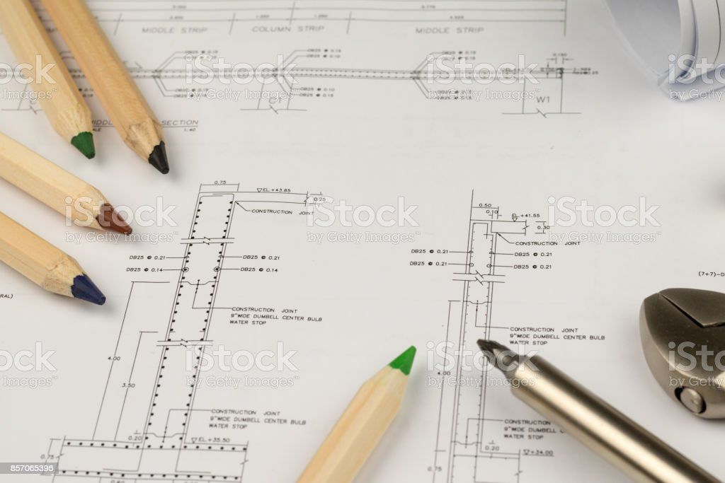 engineer construction business work concept engineering blueprint