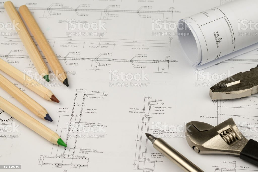 Engineer construction business work concept engineering blueprint engineer construction business work concept engineering blueprint diagrams paper drafting and industrial equipment royalty malvernweather Images
