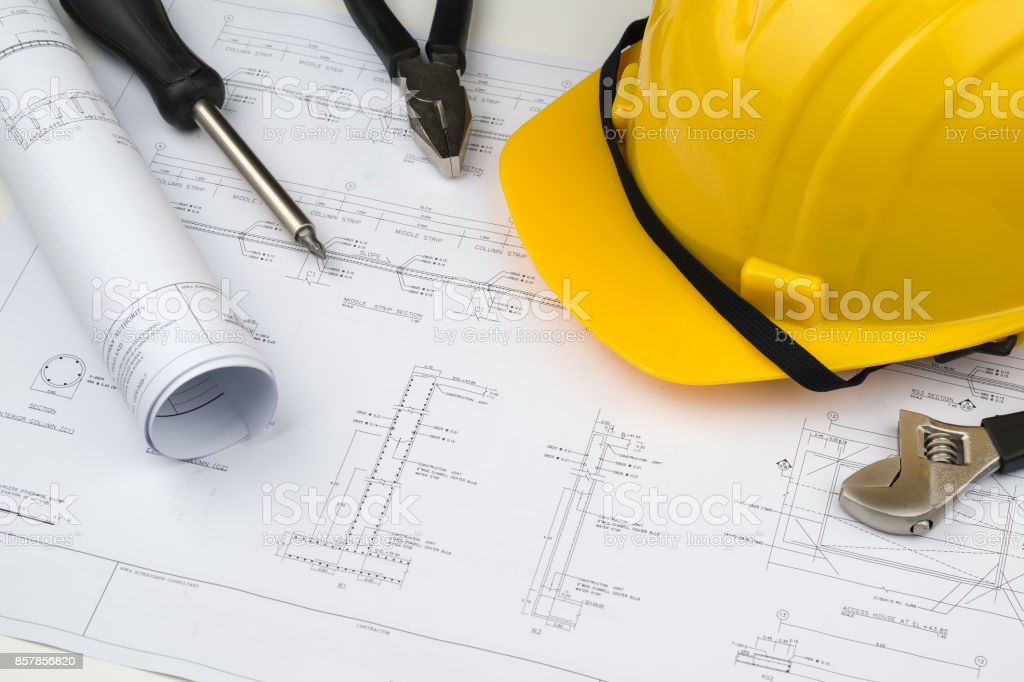Engineer construction business work concept engineering blueprint engineer construction business work concept engineering blueprint diagrams paper drafting and industrial equipment royalty malvernweather Choice Image