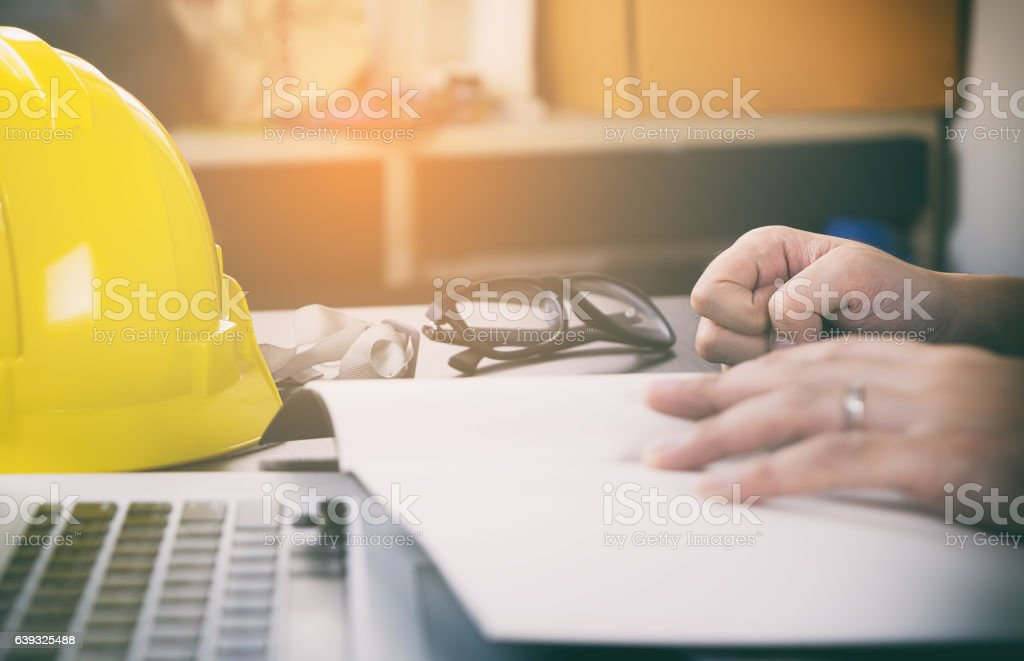 Engineer construction is having trouble with his project. stock photo