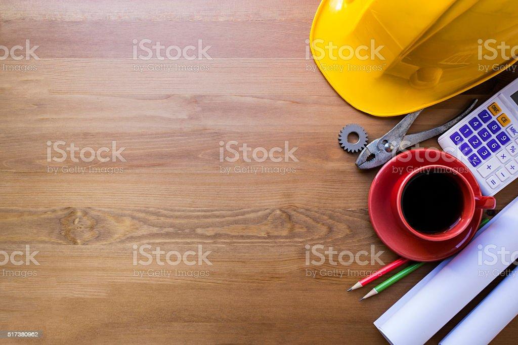 Ingenieur Schreibtischhintergrund Projekt Ideen Konzept Stockfoto
