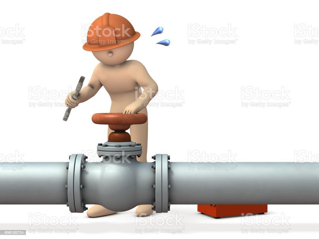 Engineer desperately repairing piping. stock photo