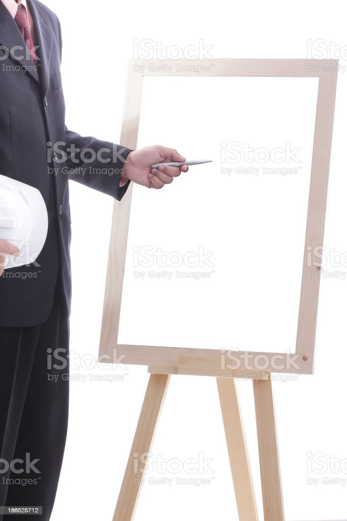 Engineer discuss and present his job for prepare royalty-free stock photo