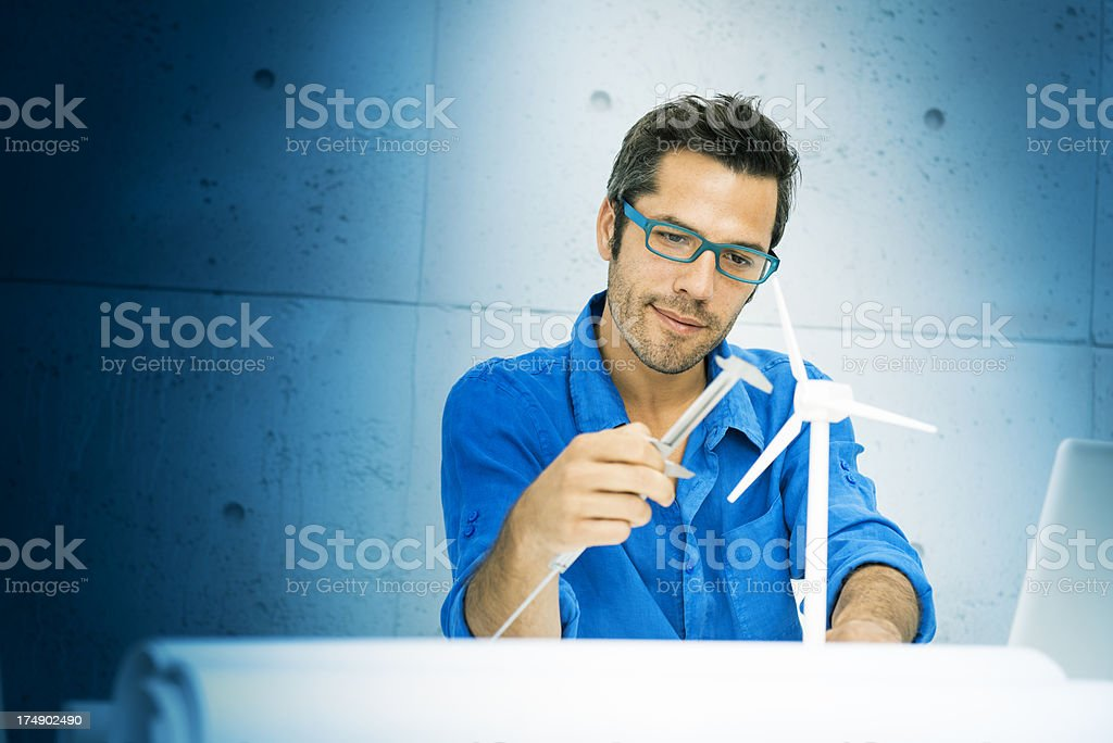 Engineer fighting climatic change stock photo