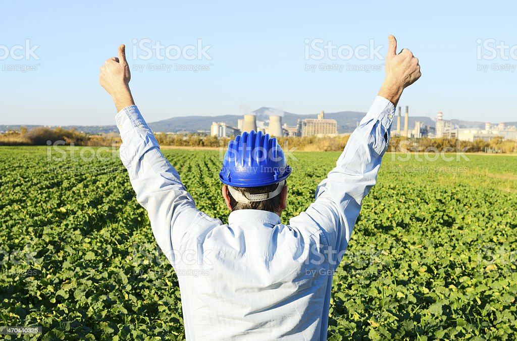 Engineer Giving Thumbs up stock photo