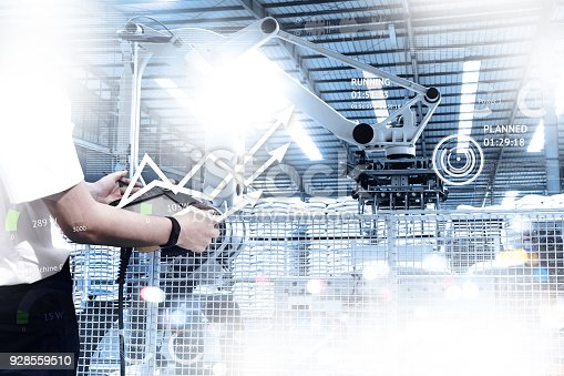 istock Engineer hand using tablet with machine real time monitoring system software. Automation robot arm machine in smart factory automotive industrial Industry 4th iot , digital manufacturing operation. 928559510