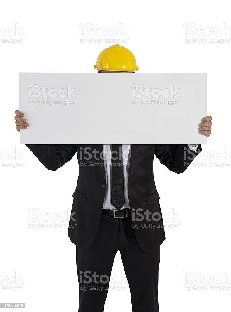 Engineer holding board stock photo