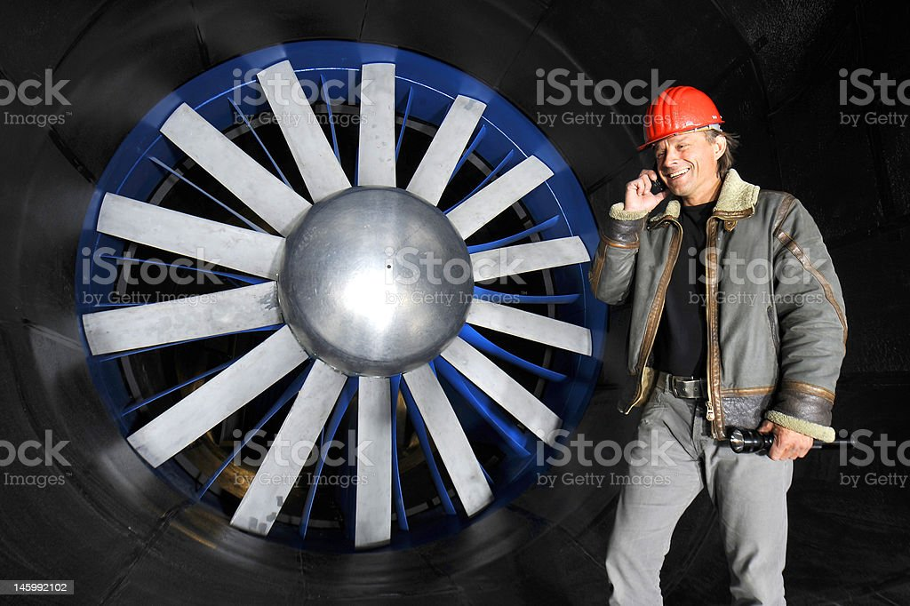 Engineer in a wind tunnel stock photo