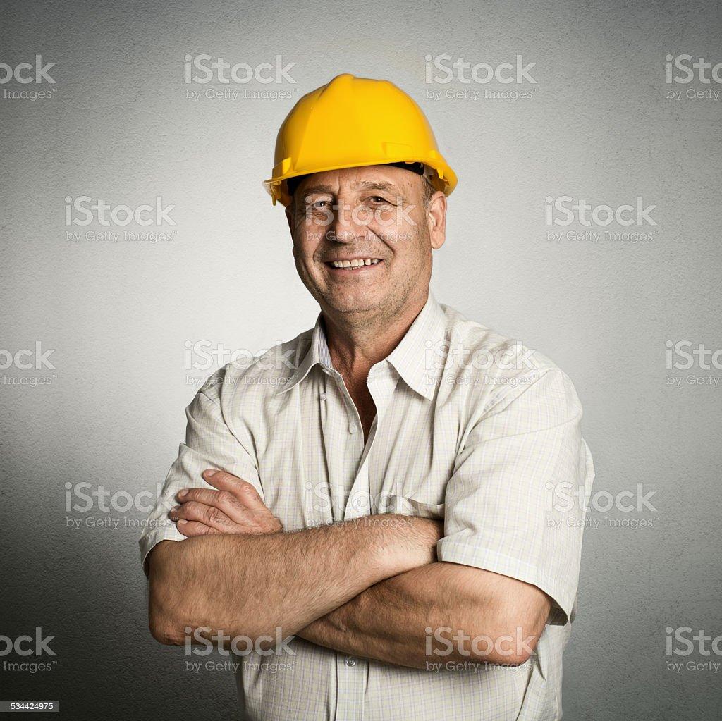 Engineer in helmet stock photo