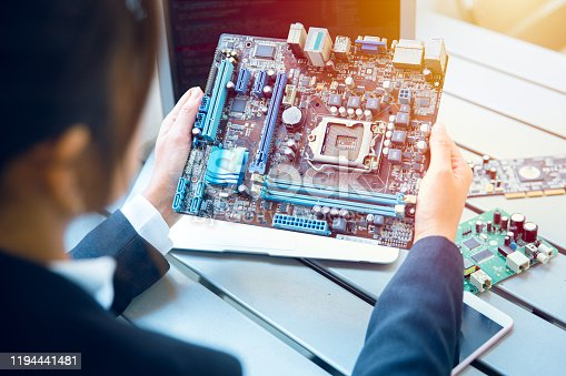 Engineer inspect final production of Printed circuit computer logic board prepare for mass production process.