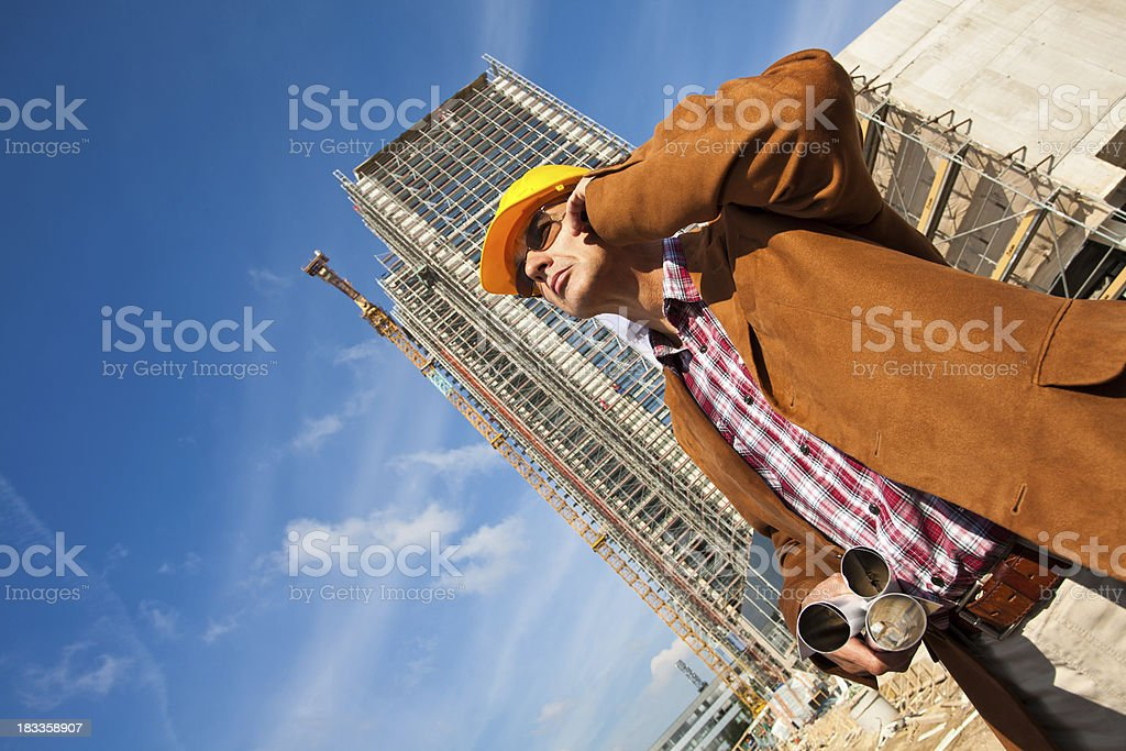 Engineer inspects the construction site royalty-free stock photo