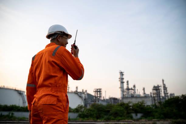 Engineer is checking gas turbine power plant stock photo