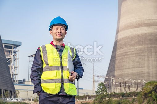 Engineer is checking the thermal power plant.