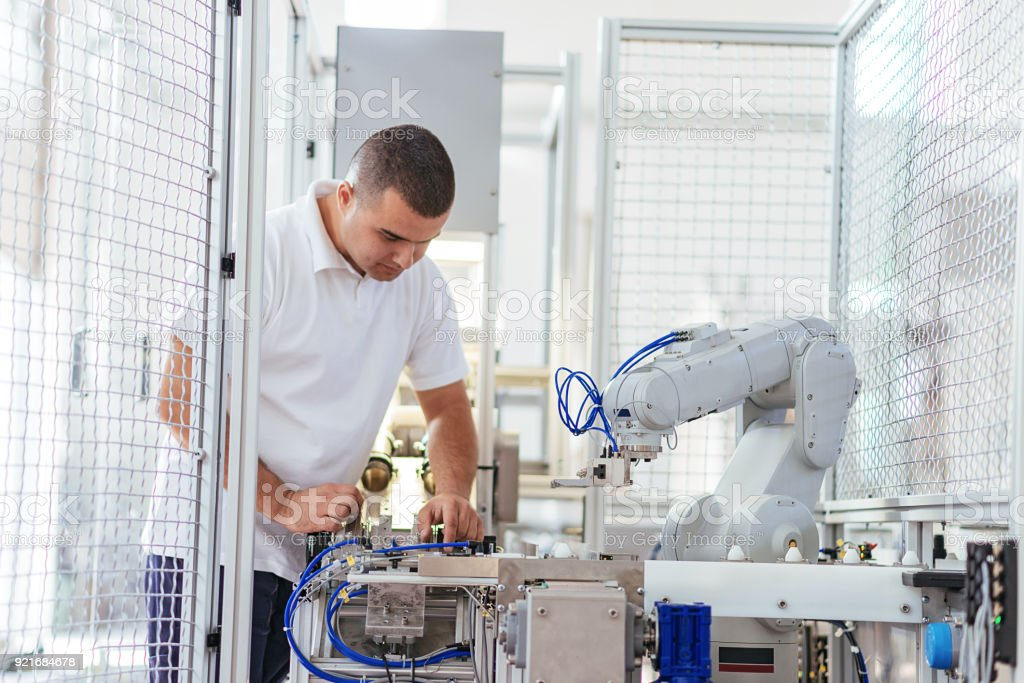 Engineer is confident about his knowledge and experience stock photo