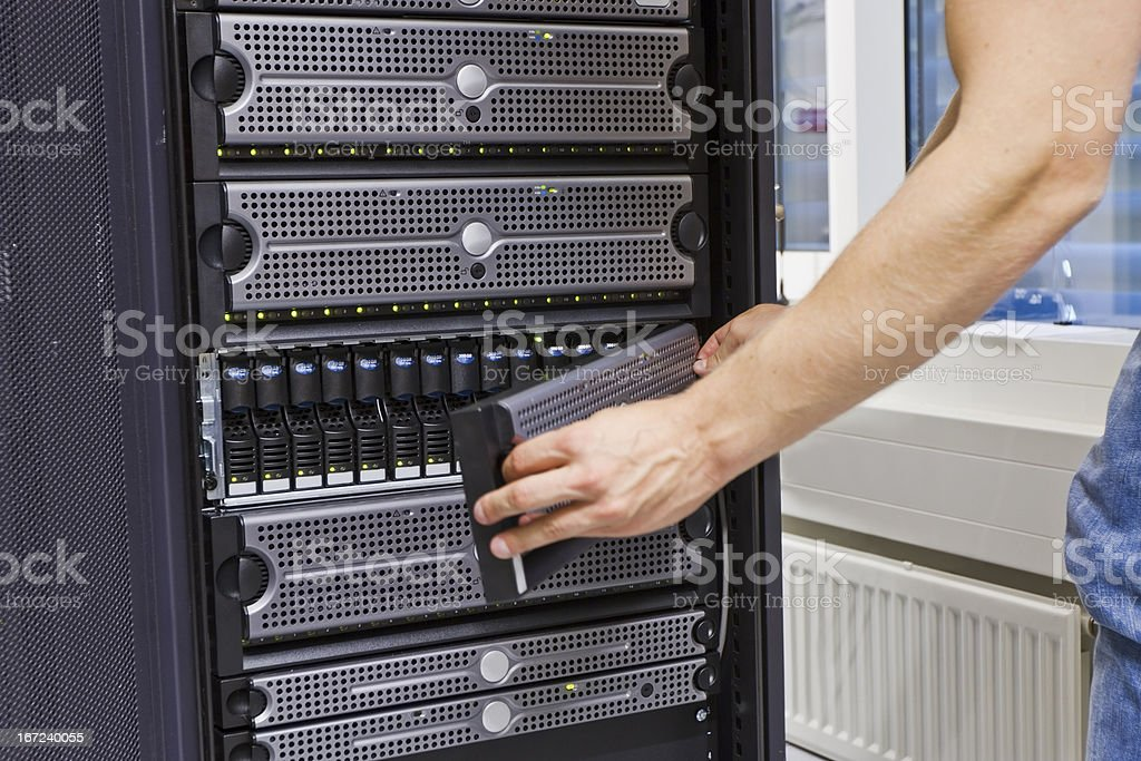 IT Engineer Maintains SAN royalty-free stock photo