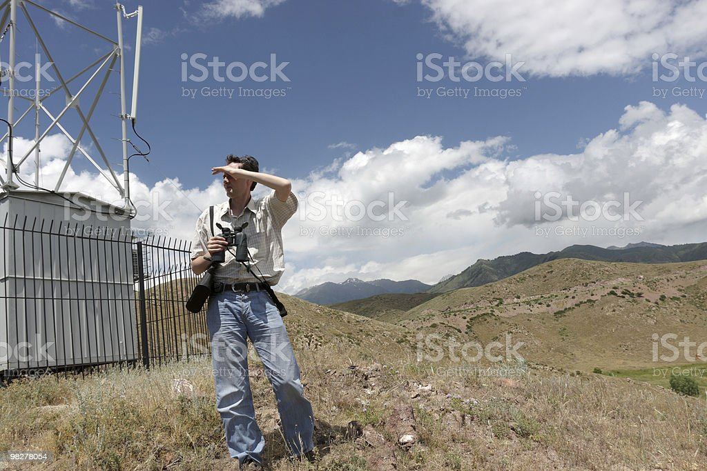 Engineer of planning transmission network royalty-free stock photo