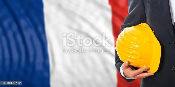 istock Engineer on a France flag background. 3d illustration 1019902712