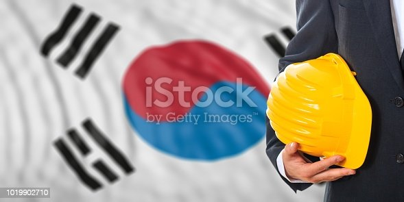 istock Engineer on a South Korea flag background. 3d illustration 1019902710