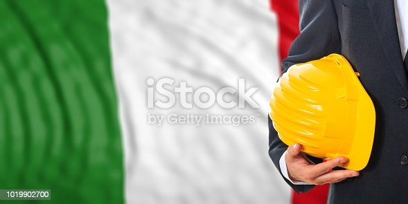 istock Engineer on an Italy flag background. 3d illustration 1019902700