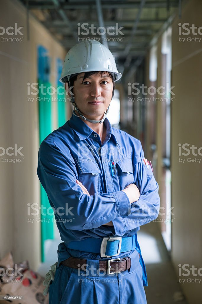 Engineer or inspector at building construction site stock photo
