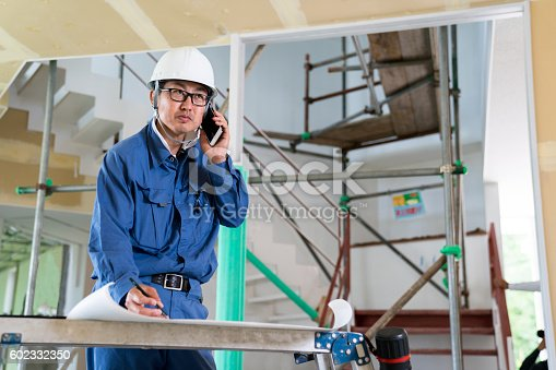 1054724700istockphoto Engineer or inspector at building construction site talking on smartphone 602332350