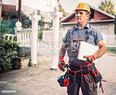 istock Engineer outdors holding laptop 600395498