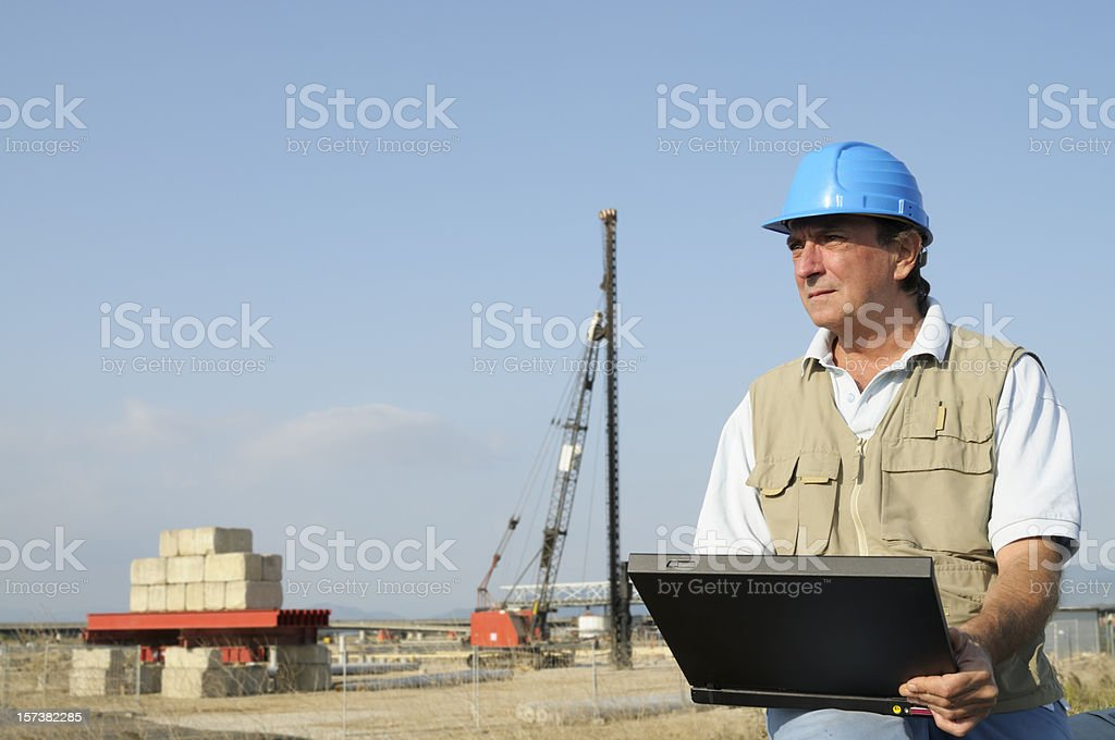 Engineer Planning PC Highway Construction Site.Copy Space stock photo